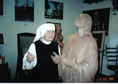 Mother Antonia & statue of St. Paul in Chains commissioned for the prison chapel – 06-23-05